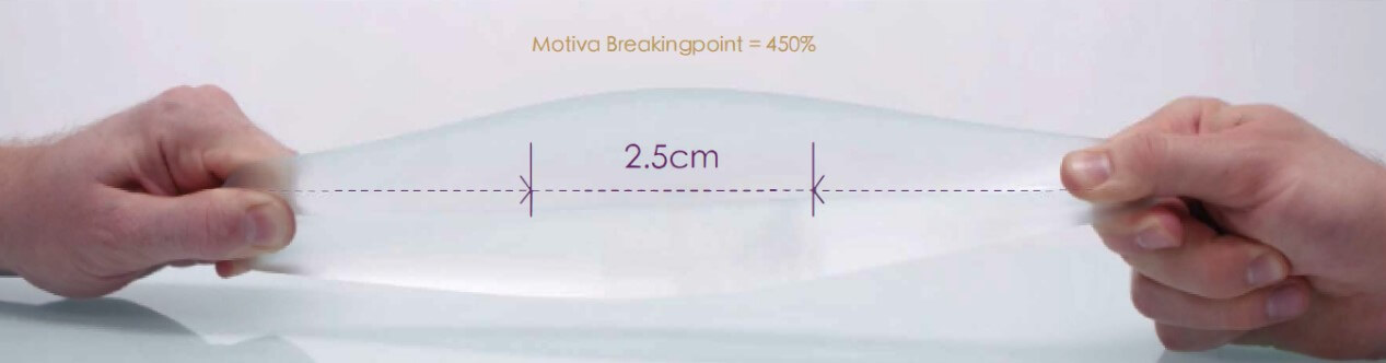 TrueMonobloc®高彈力外層膜,可將拉伸程度增大,跟他牌同樣大小植入物相比,傷口能縮小約三分之一,約2.5公分左右。