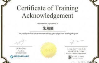 尼斯診所-上海分院-朱湘儀院長-雷射光療-全臉微整型-韓國進修結業證書